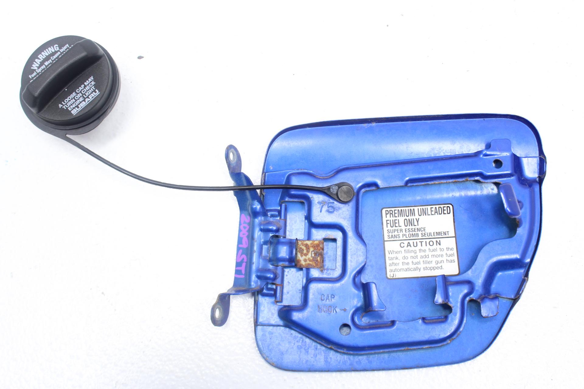 2008-2014 SUBARU IMPREZA WRX STI GAS CAP LID COVER ASSEMBLY OEM BLUE